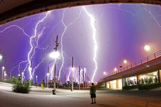 Lightning Olympic Stadium Aathens