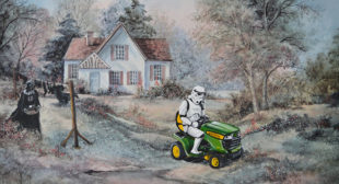 This Artist Adds Pop-Culture Characters Into Thrift Store Paintings, And It's Brilliant